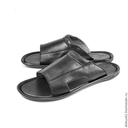 Обувь ручной работы. Ярмарка Мастеров - ручная работа. Купить Тапки мужские М-600. Handmade. Черный, кожа натуральная