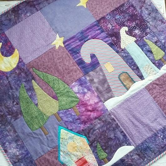 Лоскутное одеяло с аппликацией со сказочно-волшебным лесом