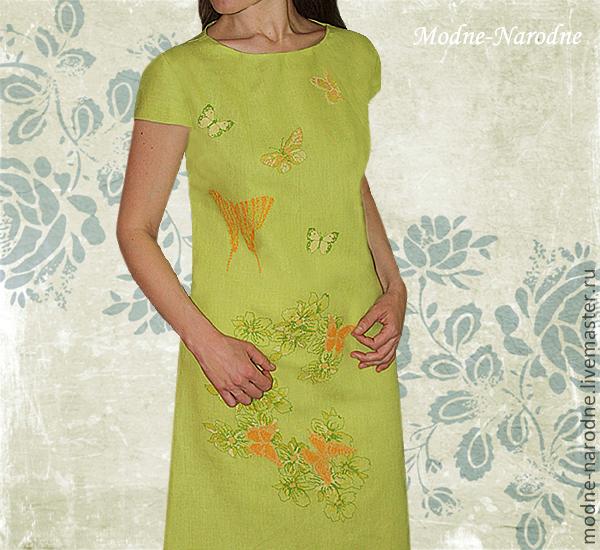 Вышивка бабочек на платье 350