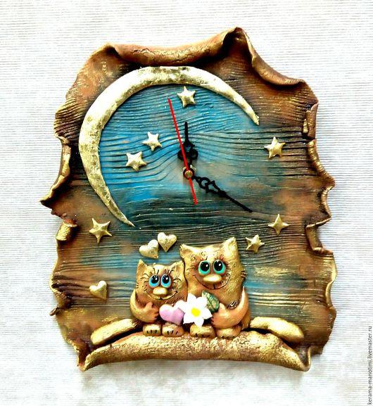 """Часы для дома ручной работы. Ярмарка Мастеров - ручная работа. Купить Часы """" Влюблённые котики"""". Handmade. Котики, звезды"""