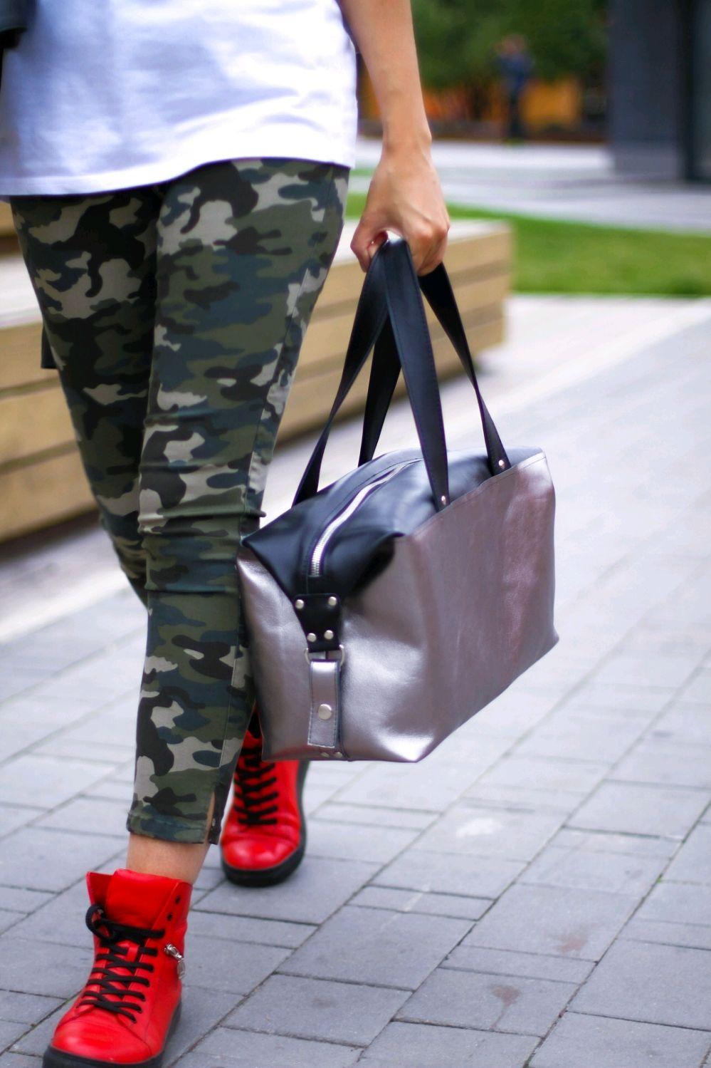 Женская спортивная сумка из натуральной кожи желтая серебряная черная, Спортивная сумка, Москва,  Фото №1