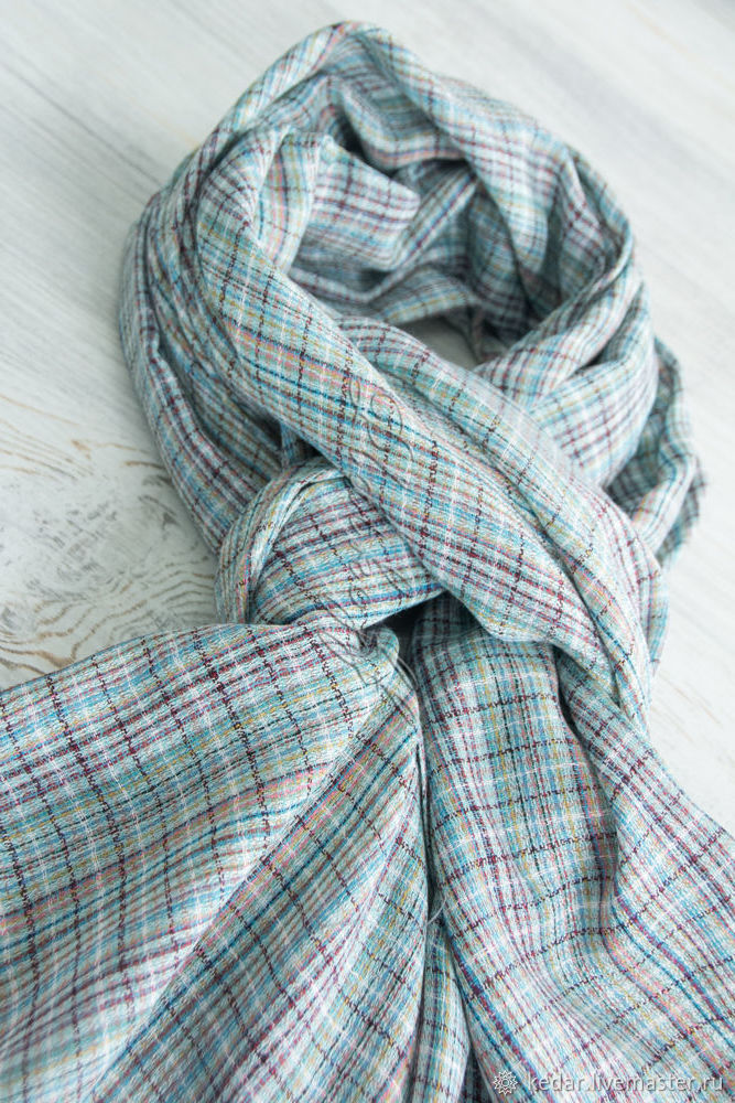 Mint female scarf in a cage 'Melange', Scarves, Moscow,  Фото №1