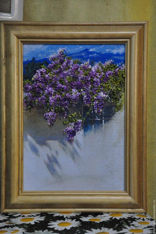 Картины цветов ручной работы. Ярмарка Мастеров - ручная работа. Купить Пейзаж. Handmade. Фиолетовый, Вышивка лентами, принт