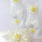 "Свадебный салон handmade. Livemaster - original item Bridal set Stemware ""Tea rose"". Handmade."