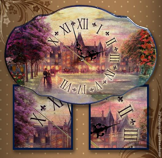 """Часы для дома ручной работы. Ярмарка Мастеров - ручная работа. Купить Часы """"Летний закат"""". Handmade. Сиреневый, часы настенные"""