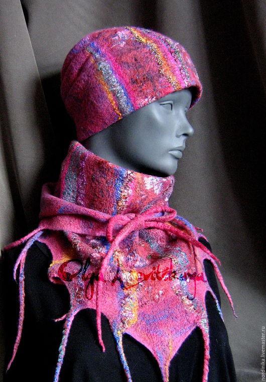 """Шарфы и шарфики ручной работы. Ярмарка Мастеров - ручная работа. Купить Яркий теплый красивый шарф-бактус """"ЯРМАРКА"""" розовый. Handmade."""