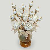 Цветы и флористика handmade. Livemaster - original item Flowers from cacholong (milk opal)