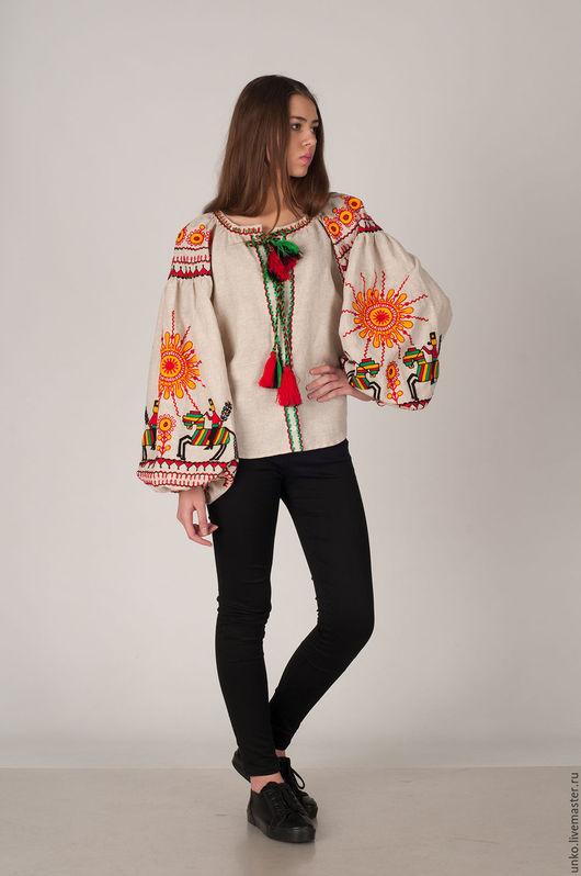 """Этническая одежда ручной работы. Ярмарка Мастеров - ручная работа. Купить Этническая блуза """"КАЗАКИ"""". Handmade. Бежевый, вышито, необычная"""