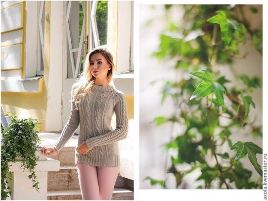 """Кофты и свитера ручной работы. Ярмарка Мастеров - ручная работа. Купить Пуловер """" Оттепель"""". Handmade. Бежевый, жеснкий пуловер"""
