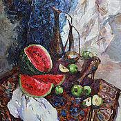 """Картины и панно handmade. Livemaster - original item """"Натюрморт с кувшинами и арбузом """". Картина маслом. Handmade."""