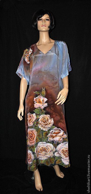 """Платья ручной работы. Ярмарка Мастеров - ручная работа. Купить Шелковое платье Батик """"Розы"""". Handmade. Платье батик, розы"""