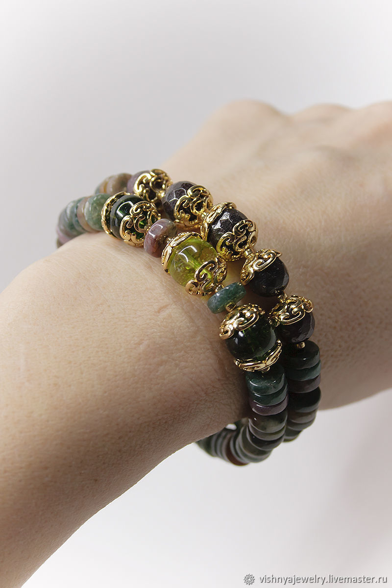 Bracelets Oliva Natural stones gold Plated, Bead bracelet, Moscow,  Фото №1