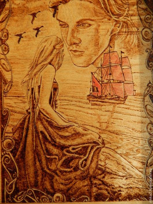 """Фэнтези ручной работы. Ярмарка Мастеров - ручная работа. Купить Картина """"Мечты Ассоль"""". Handmade. Коричневый, мечтательница, морской пейзаж"""