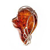 Украшения handmade. Livemaster - original item Gold plated brooch with amber, the
