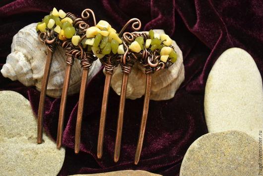 """Заколки ручной работы. Ярмарка Мастеров - ручная работа. Купить Гребень """"Бабочка"""". Handmade. Гребень для волос, украшение из меди"""