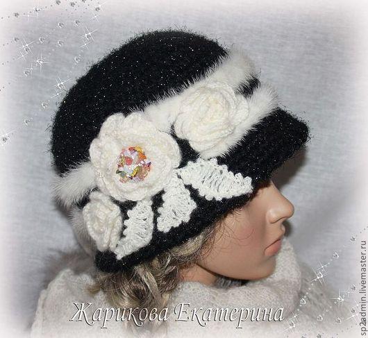 Шляпы ручной работы. Ярмарка Мастеров - ручная работа. Купить шляпка вязаная женская черное и белое. Handmade. Пряжа, мягкая