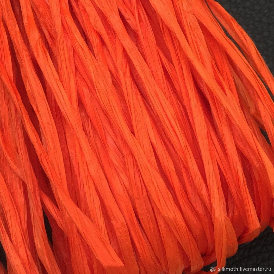 Рафия, 1м, Италия, оранжевый, Нитки, Москва,  Фото №1