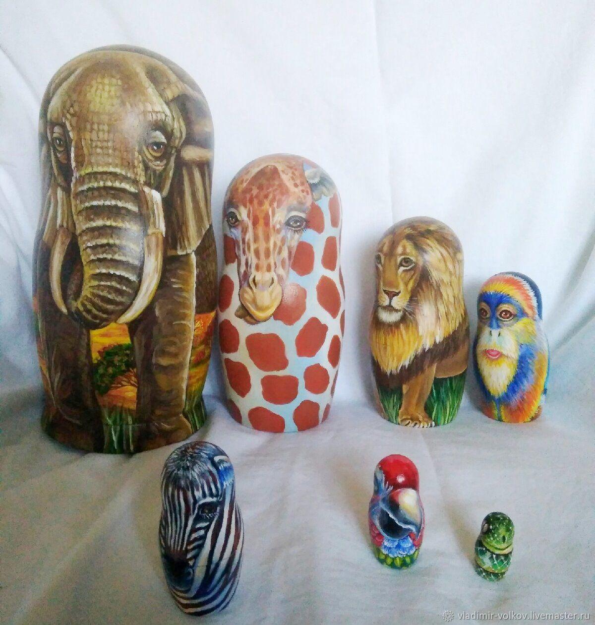 Матрешка Африканские животные 7 мест, авторская игрушка матрёшка 7 в 1, Матрешки, Рязань,  Фото №1