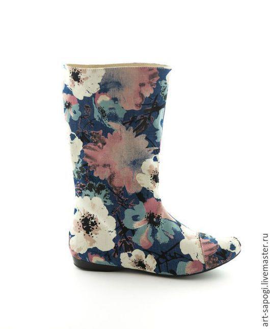 Обувь ручной работы. Ярмарка Мастеров - ручная работа. Купить Джинсовые сапоги 1-152 (ВЧ). Handmade. Синий, голубой