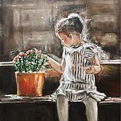 Картины и панно handmade. Livemaster - original item Painting of Girl and flowers. Handmade.