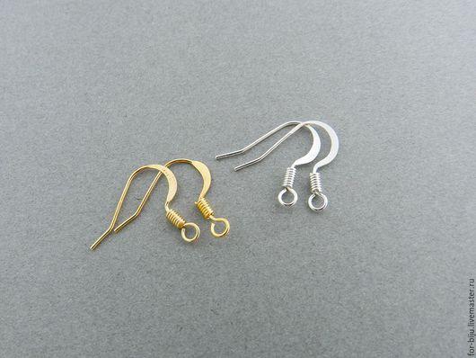 Швензы для серег под золото и светлое серебро, размер 15 мм, толщина 0,7 мм, материал латунь (арт. 1854)