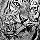 Животные ручной работы. Ярмарка Мастеров - ручная работа. Купить Тигриная забота. Handmade. Портрет, портрет по фото на заказ, тигры