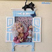 """Картины и панно ручной работы. Ярмарка Мастеров - ручная работа Кукла-светильник """"Мой милый котик"""". Handmade."""