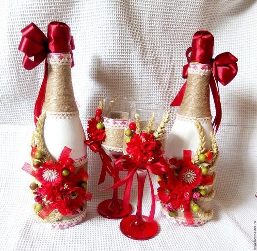 Свадебные аксессуары ручной работы. Ярмарка Мастеров - ручная работа. Купить Декор шампанского и бокалов в славянском стиле. Handmade.