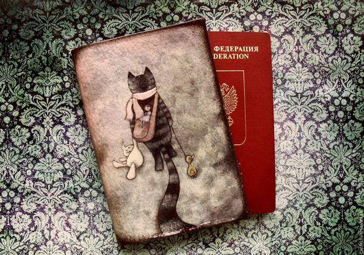 Обложки ручной работы. Ярмарка Мастеров - ручная работа. Купить Обложка на паспорт КОТЕЙКИ.. Handmade. Комбинированный, обложка для паспорта, обложка