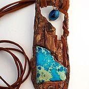 Украшения handmade. Livemaster - original item Pendant made from wood with a blue stone Flying over the land. Handmade.