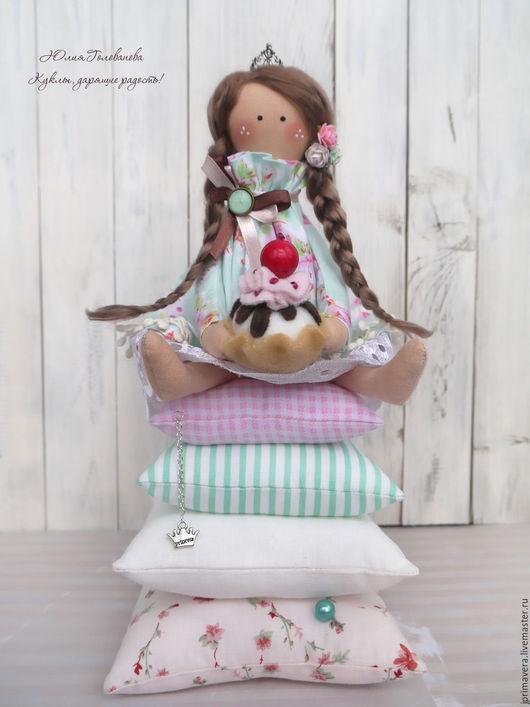 принцесса на горошине, принцесса тильда, тильда, тильда кукла, кукла тильда, тильда ангел, тильда принцесса, подарок девочке, пироженое, мятный, бледно-розовый, Юлия Голованова, Ярмарка мастеров