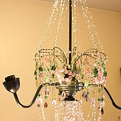 Для дома и интерьера ручной работы. Ярмарка Мастеров - ручная работа винтажная люстра из цветного стекла Дождь в летнем саду. Handmade.