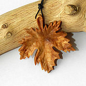 Украшения handmade. Livemaster - original item Wood pendants Maple leaf (birch cap). Handmade.