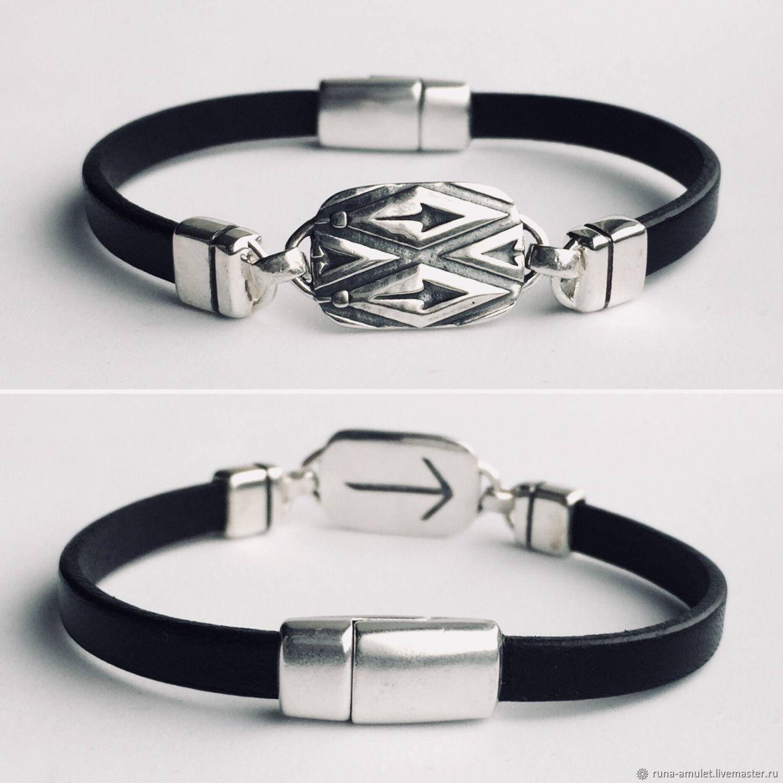 Bracelet with rune Teyvaz, silver,leather, runic mens bracelet, Hard bracelet, Moscow,  Фото №1
