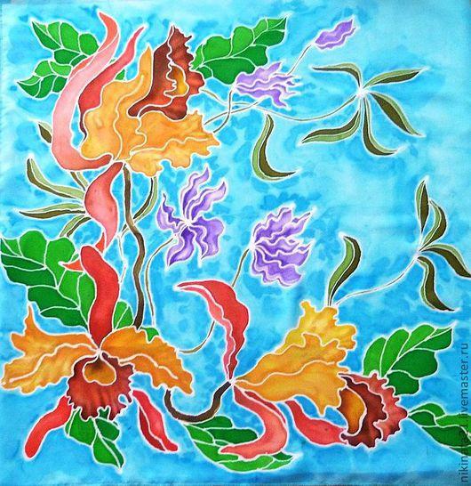 Шали, палантины ручной работы. Ярмарка Мастеров - ручная работа. Купить Платочек для мамы. Handmade. Синий, цветочный, Батик