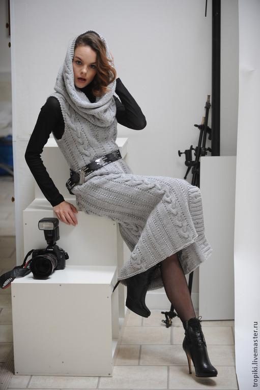 Платья ручной работы. Ярмарка Мастеров - ручная работа. Купить вязаный сарафан со снудом. Handmade. Серый, ручная работа
