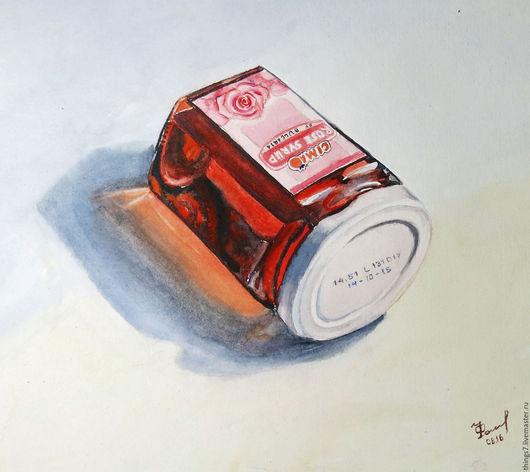 Натюрморт ручной работы. Ярмарка Мастеров - ручная работа. Купить Акварель Розовый сироп. Handmade. Розовый, натюрморт, розовый сироп