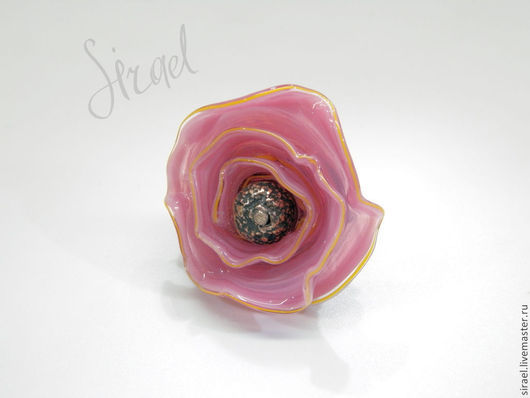 """Кольца ручной работы. Ярмарка Мастеров - ручная работа. Купить """"Ольга""""; кольцо лэмпворк. Handmade. Розовый, стеклянный цветок, винтаж"""