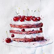Картины и панно ручной работы. Ярмарка Мастеров - ручная работа Вишневый торт. Handmade.
