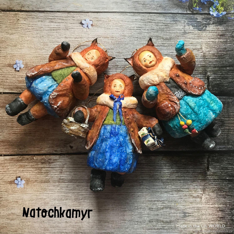Персональные подарки ручной работы. Ярмарка Мастеров - ручная работа. Купить Набор «Белочки-подружки». Ватная интерьерная игрушка. Handmade.