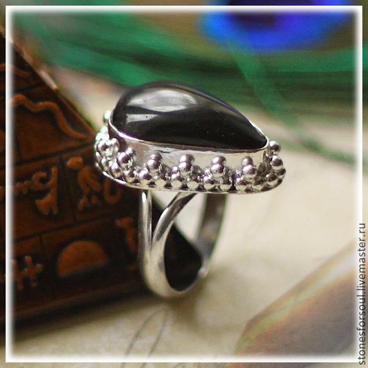 """Кольца ручной работы. Ярмарка Мастеров - ручная работа. Купить кольцо в серебре 925 пр. """"Ажурный оникс"""". Handmade. Черный"""