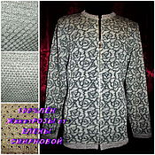 Одежда handmade. Livemaster - original item 100% linen yarn .Jacket zipper ROSES. Handmade.