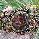Вышитый бисером браслет ` Шепчущий лес ` с натуральным гранатом. Купить украшение ручной работы,  в подарок. Ярмарка Мастеров.