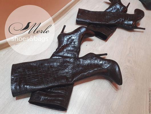 Обувь ручной работы. Ярмарка Мастеров - ручная работа. Купить Сапожки Affile темно-коричневый крокодил, 9,5 см. Handmade.