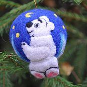 """Подарки к праздникам ручной работы. Ярмарка Мастеров - ручная работа """"Умка"""" елочный шар. Handmade."""