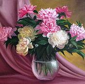 Картины и панно handmade. Livemaster - original item Peonies in a glass vase. Handmade.