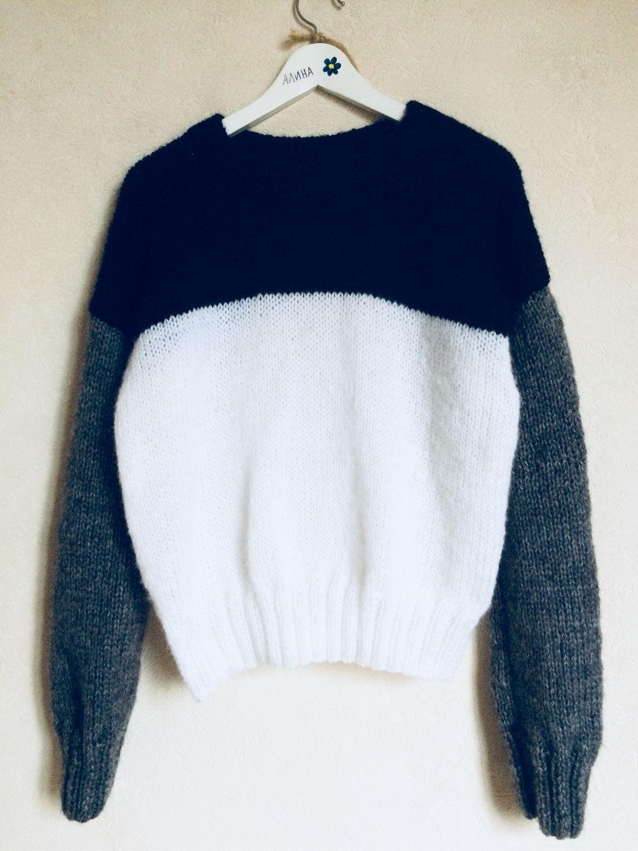 Кофты и свитера ручной работы. Ярмарка Мастеров - ручная работа. Купить Базовый свитер в стиле колор блок. Handmade. Свитер