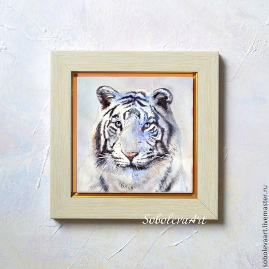 Животные ручной работы. Ярмарка Мастеров - ручная работа. Купить Белый Тигр - Каритна с Тигром - Настенный Декор - Акрарель -. Handmade.