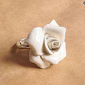 """Украшения ручной работы. Ярмарка Мастеров - ручная работа Кольцо """"Белая роза"""". Handmade."""