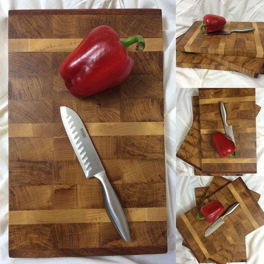 Кухня ручной работы. Ярмарка Мастеров - ручная работа. Купить Торцевая разделочная доска 420х260x30. Handmade. Дуб, подарок мужчине